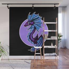 Purple Water Dragon Black Background Wall Mural
