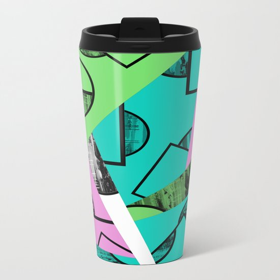 Broken Pieces - Pastel coloured, geometric, textured abstract Metal Travel Mug