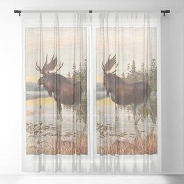 Vintage Moose Sheer Curtain