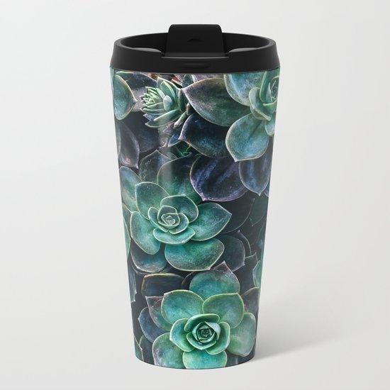Succulent Blue Green Plants Metal Travel Mug