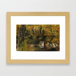 Totem otter in autumn Framed Art Print