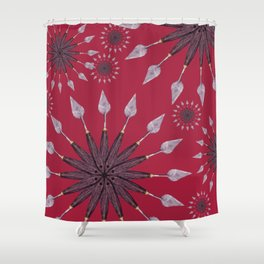 Christmas snowflake on red background Shower Curtain