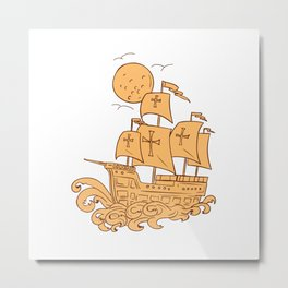 Caravel Sailing Ship Moon Drawing Metal Print