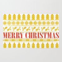 merry christmas Area & Throw Rugs featuring Christmas Merry! by Fimbis