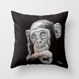 a Jane Goodall quote - black Throw Pillow