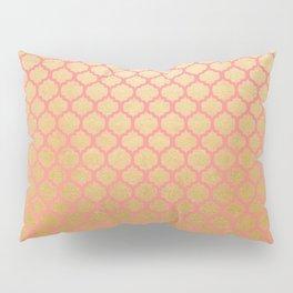 Elegant pink coral faux gold glitter vintage quatrefoil Pillow Sham