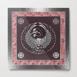 Japanese Swan Traditional 2 Motif Metal Print