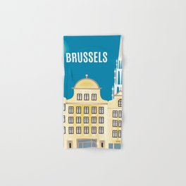 Brussels, Belgium - Skyline Illustration by Loose Petals Hand & Bath Towel
