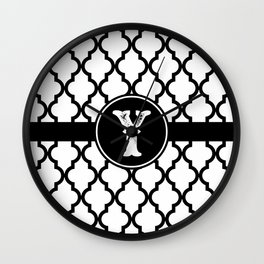 Black Monogram: Letter Y Wall Clock