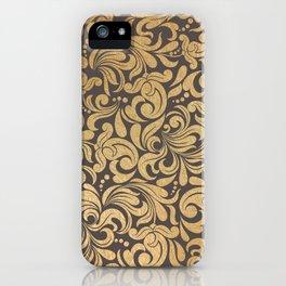 Gold foil swirls damask #11 iPhone Case
