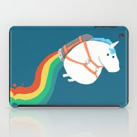 child iPad Cases featuring Fat Unicorn on Rainbow Jetpack by Picomodi