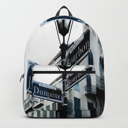 Dumaine and Bourbon - Street Sign in New Orleans French Quarter Backpack