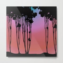Forest Silhouette Sherbet Sunset by Seasons K Designs for Salty Raven Metal Print