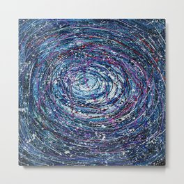 Star Trails Circular Abstract  Pollock Inspired Painting Metal Print