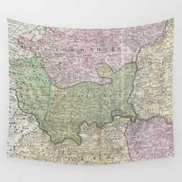 Vintage London England Regional Map (1741) Wall Tapestry