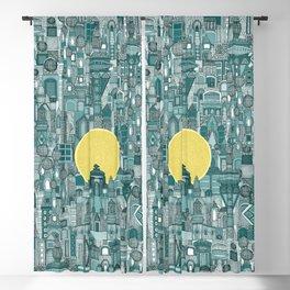 space city sun teal Blackout Curtain