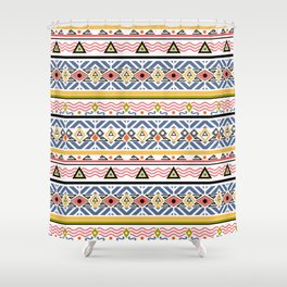Ethnic ornament , white background Shower Curtain