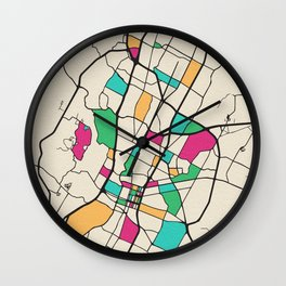 Colorful City Maps: Austin, Texas Wall Clock