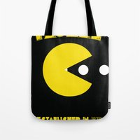 pac man Tote Bags featuring pac-man by CJones5105
