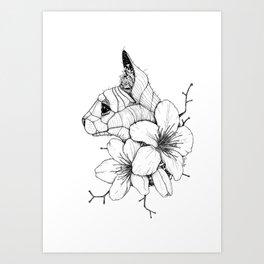 Sphynx cat & Sakura Blossoms Art Print