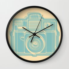 I Still Shoot Film Holga Logo - Reversed Turquoise/Tan Wall Clock