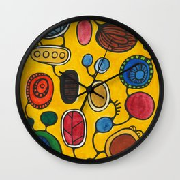 Orbs N Lines - Plants Seeds and Peacock Wall Clock
