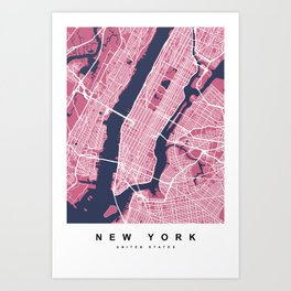 New York Map | Pink & Blue Colors Art Print