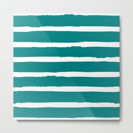 White and Teal Stripes Metal Print