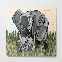 Elephant Mother And Calf Roaming In The Forest Metal Print