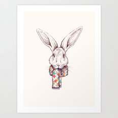 Bunny and scarf Art Print