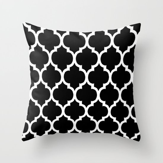 Black And White Patterned Throw Pillows : Moroccan Black and White Lattice Moroccan Pattern Throw Pillow by Saundra Myles Society6
