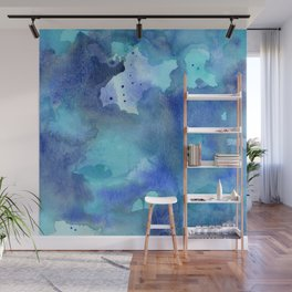 Blue Abstract Watercolor Painting Wall Mural