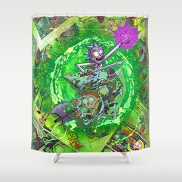 Rick & M - Dungeons and Dragons Comic Collage Portal Comic Book Art Shower Curtain