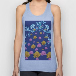 YELLOW  & PINK ROSES BLUE MODERN  ABSTRACT Unisex Tank Top