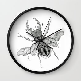 Dotwork Flying Beetle Illustration Wall Clock