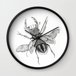 Dotwork Flying Beetle Illustration Wall Clock