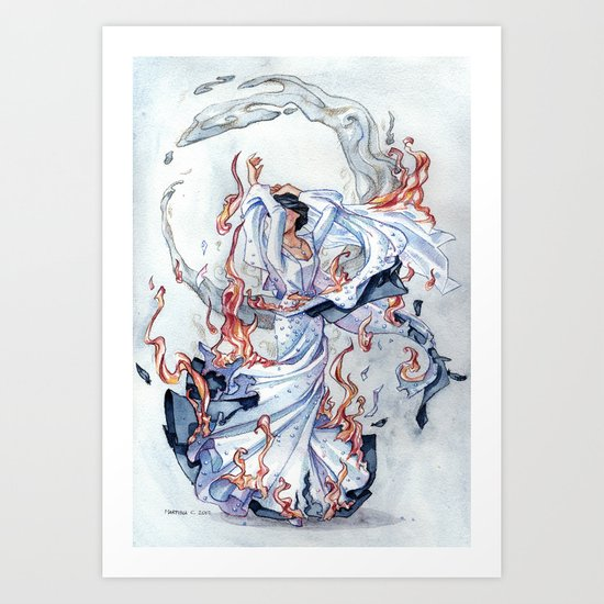 The Bride on fire Art Print