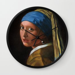 Reproduction - Johannes Vermeer - Girl with a Pearl Earring Wall Clock