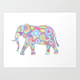 Elephant Flower Doodle Art Print