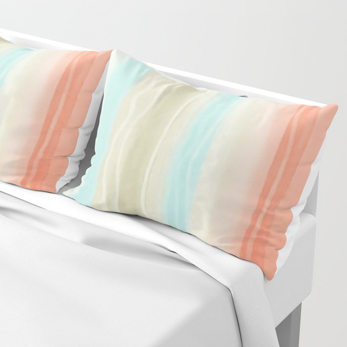 Peach And Aqua Watercolor Striped Pattern Pillow Sham By Robincurtiss |  Society6