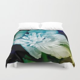 Blue Peony Flower Art Duvet Cover
