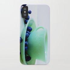 Retro Breakfast - Jadite and Blueberries Slim Case iPhone X