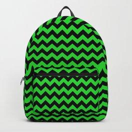 Dark Black and Bright Monster Green Halloween Chevron Stripes Backpack