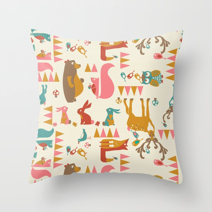 Forest Hideaway-multi Throw Pillow