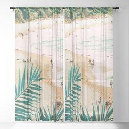 Beach Weekend #digitalart #nature Sheer Curtain