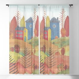 Colorful forest III Sheer Curtain