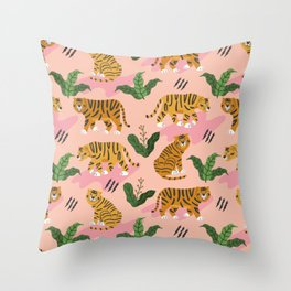 Vintage Tiger Print Throw Pillow