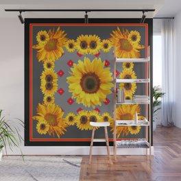 Western Blanket Style Sunflowers Grey Art Wall Mural