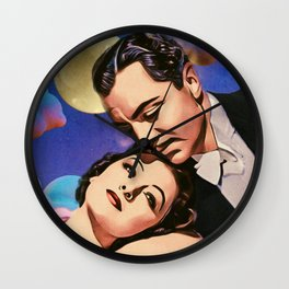 Nick and Nora, Moon, Clouds and Toothbrush Quote Wall Clock