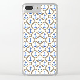 Seamless nautical pattern with blue anchors and rope on white background Clear iPhone Case